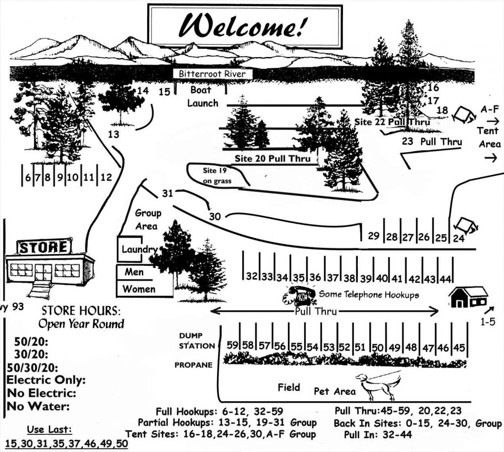 Angler's Roost Campground layout. Campground Map  RV Camping  Bitterrroot River